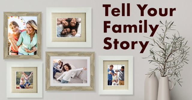 Picture framing wall art for family photos example